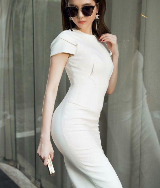 Đầm dự tiệc ôm body trắng trẻ trung thiết kế đơn giản – DN419