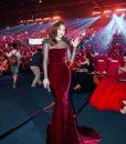 Đầm dạ hội nhung phối lưới sang trọng sành điệu tôn dáng – D409