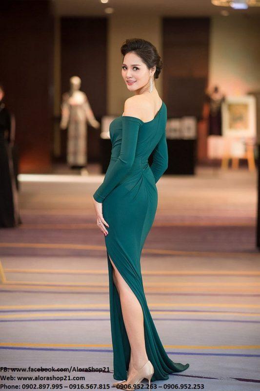 Đầm dạ hội lệch vai hở ngực thiết kế ôm body cực tôn dáng – D411