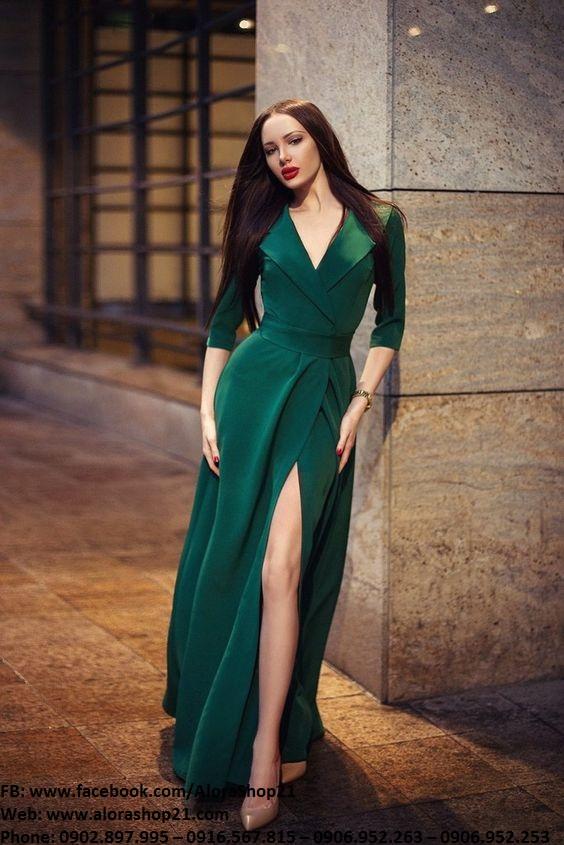 Đầm dạ hội lệch tay dài cổ vest xẻ đùi cao quý phái – D412