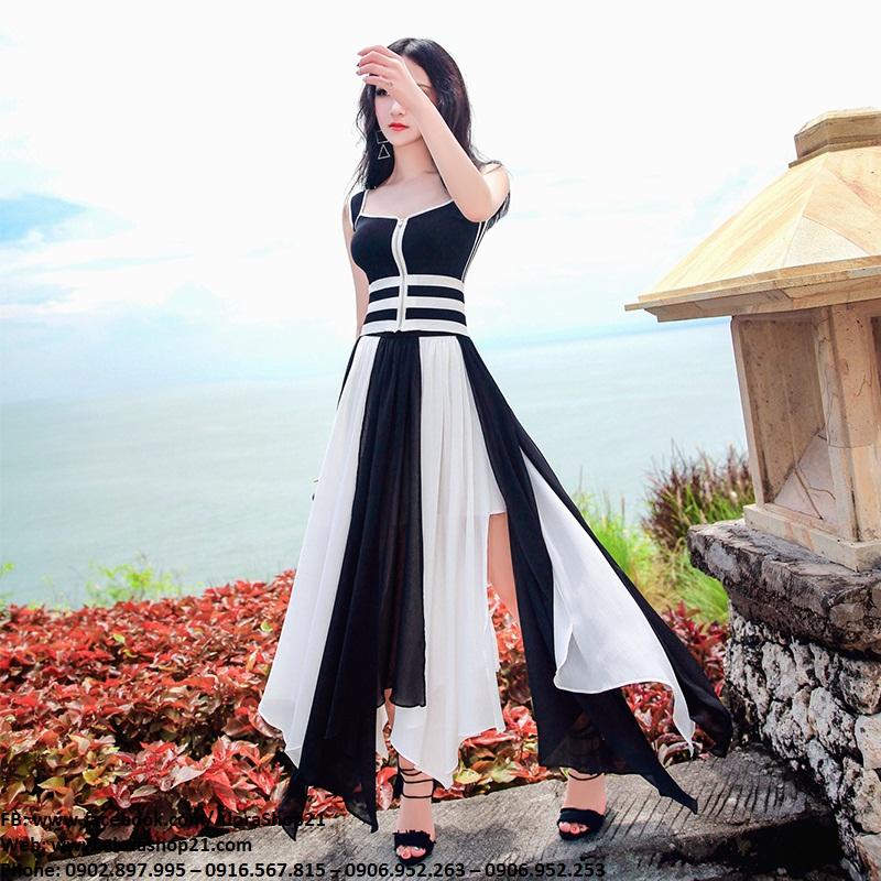 Đầm maxi trắng phối đen xẻ vạt rời trẻ trung quyến rũ – D414