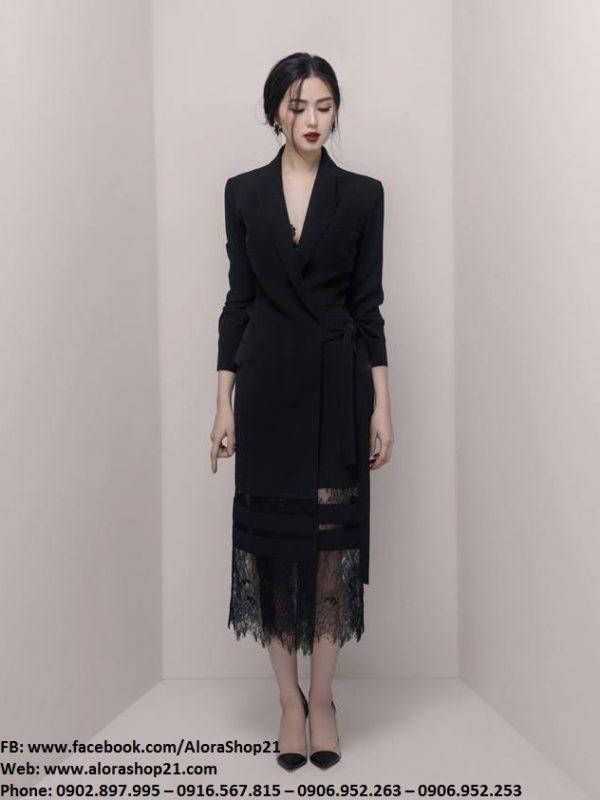 Đầm vest đen phối ren sang trọng đẹp mắt - DN430