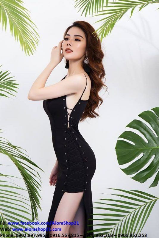 Váy body đen đan dây chéo cá tính - DN425