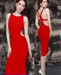 Váy body đỏ đẹp hở lưng sexy quyến rũ - DN427