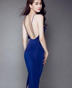 Váy đầm dự tiệc xanh coban hai dây hở lưng sexy - DN428
