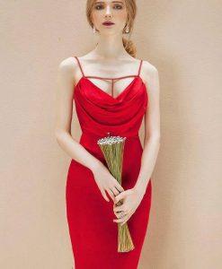 Váy đỏ cổ đỗ trước ôm body tôn dáng - DN426