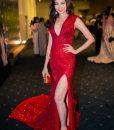 Đầm dạ hội kim sa đỏ xẻ đùi cao ôm body tôn dáng – D419