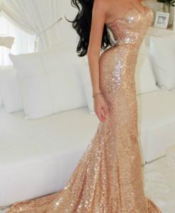 Đầm dạ hội kim sa cúp ngực ôm body tôn dáng – D419