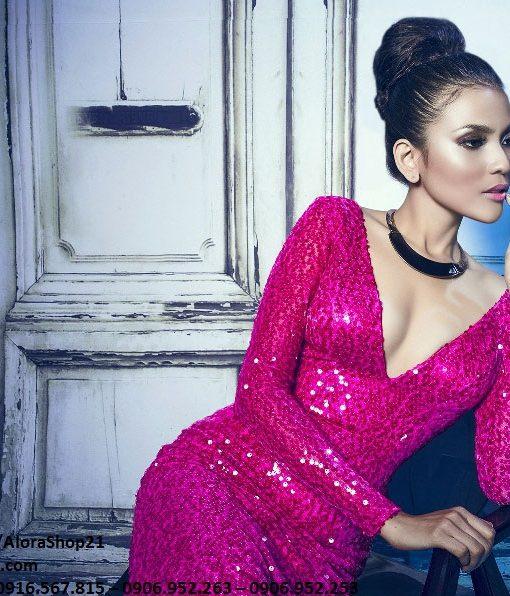 Đầm dạ hội kim sa đẹp dài tay ôm body tôn dáng - D417