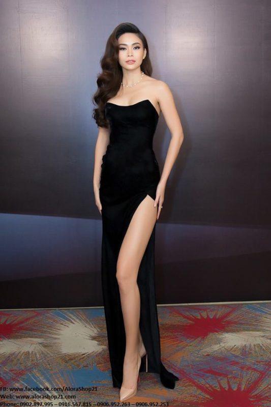 Váy dạ hội nhung cúp ngực xẻ đùi cao sexy quyến rũ - D425