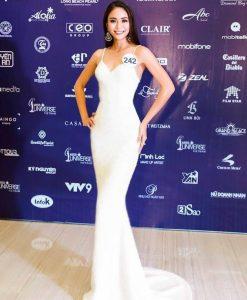 Đầm dạ hội trắng hai dây sang trọng quyến rũ - D424