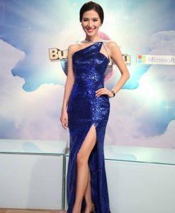 Đầm dạ hội xanh coban xẻ đùi cao tôn dáng - D422