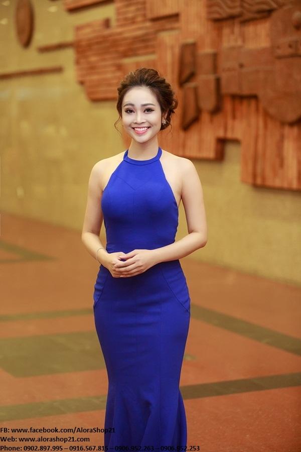 Đầm dài xanh coban cổ yếm hở lưng ôm body – D427