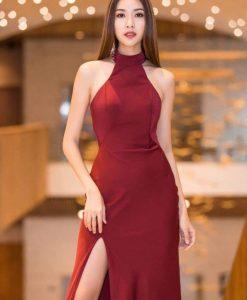 Đầm dạ hội cổ yếm xẻ đùi cao hở lưng sexy - D426