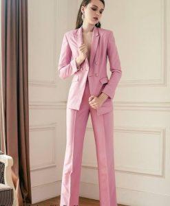 Bộ áo vest tay dài và quần tây hồng tuyệt đẹp - J83