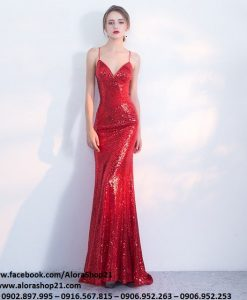 Đầm dạ hội kim sa đỏ cúp ngực ôm body tôn dáng - D428
