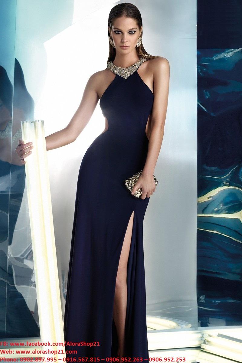 Đầm dạ hội đen xẻ đùi cao đính đá sang trọng quý phái - D431
