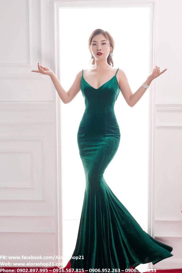 Váy dạ hội nhung đuôi cá hai dây sexy tôn dáng - D432