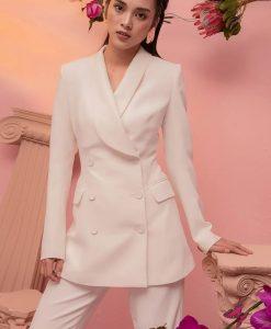 Set áo quần kiểu áo vest tay dài quần ống suông - J88