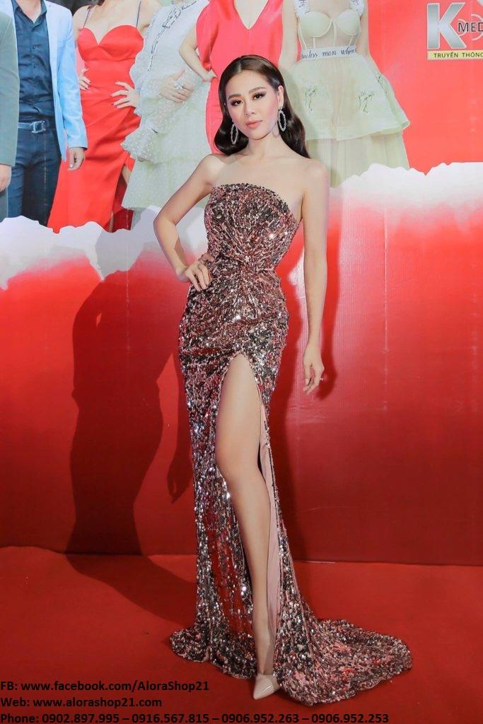 Đầm dạ hội kim sa cúp ngực ôm body tôn dáng - D433