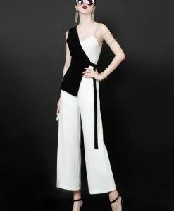 Set áo kiểu 2 dây phối 2 màu và quần ống loe thời trang - J89
