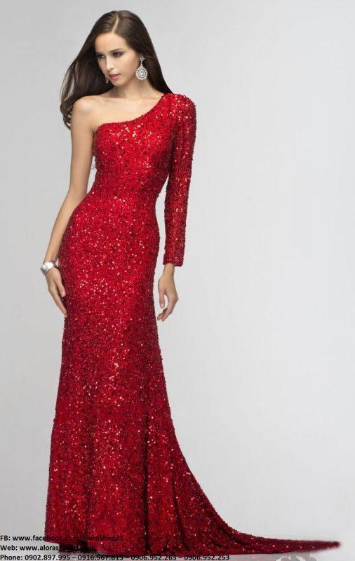 Đầm dạ hội kim sa đỏ lệch vai trẻ trung xinh xắn– D434