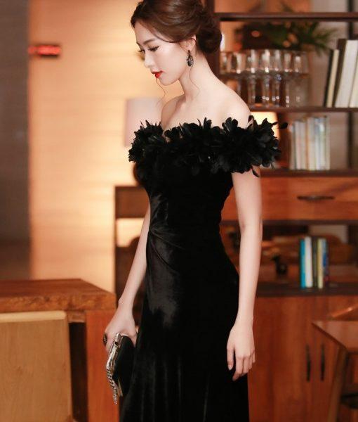 Đầm dạ hội nhung cao cấp thiết kế đính lông tuyệt đẹp - D436
