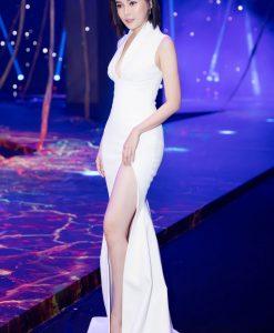 Đầm dạ hội trắng xẻ đùi cao tôn dáng như Ái Phương - D438