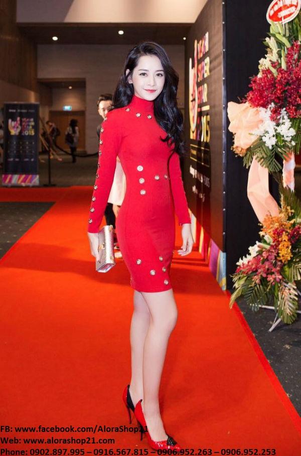 Váy body tay dài đỏ khoét lỗ lạ mắt dễ thương như Chi Pu – DN434