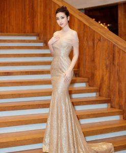 Váy dạ hội trễ vai kim sa phối ren lưới quyến rũ - D435