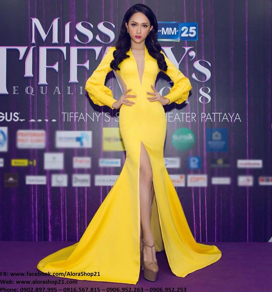 Váy dạ hội vàng tay dài cut out sexy quyến rũ như Hương Giang – D439