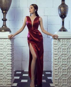 Đầm dạ hội phi đỏ hở ngực sâu sang trọng quyến rũ – D442
