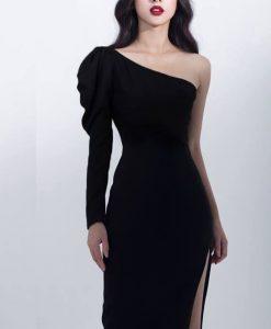 Đầm dạ hội ôm body kiểu dài tay lệch vai xẻ tà - D445