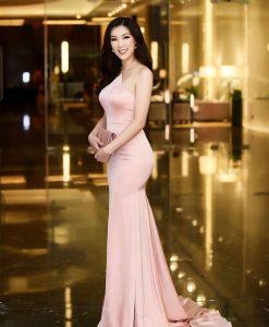 Váy dạ hội cổ yếm phi lụa ôm body tôn dáng - D446