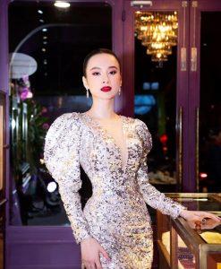 Đầm dạ hội kim sa trắng khoét ngực sâu xẻ đùi quyến rũ – D444