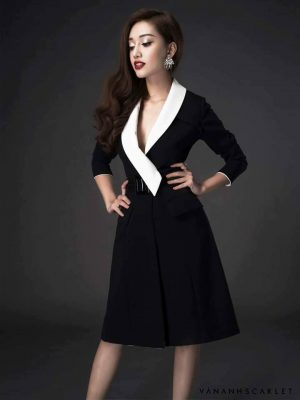 Đầm vest trắng phối đen sang trọng lịch lãm