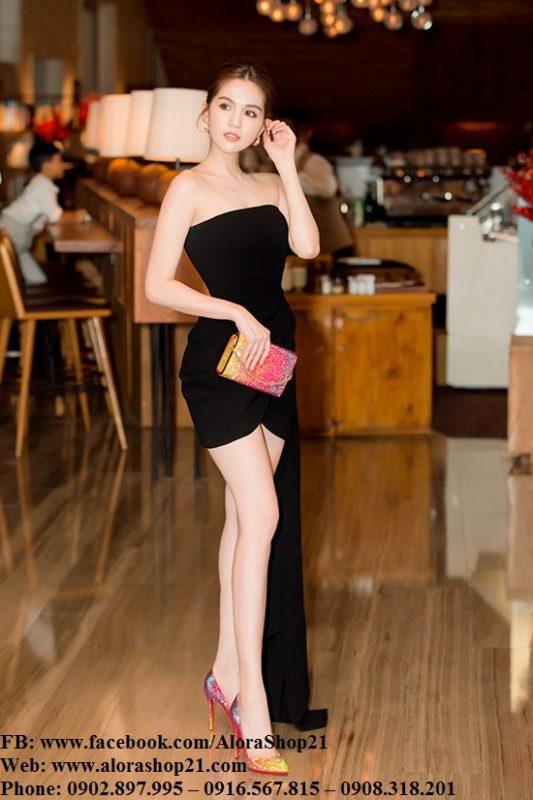 Đầm body đen cúp ngực phối bèo 1 bên như Ngọc Trinh - DN437