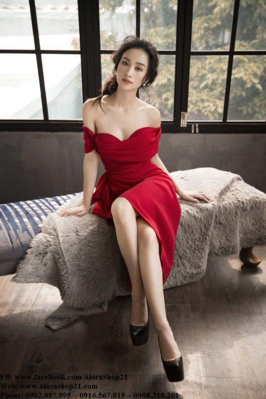 Đầm body đỏ trễ vai sexy quyến rũ-DN440