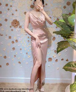 Đầm dạ hội kiểu 2 dây cổ đỗ xẻ tà sang trọng - D451