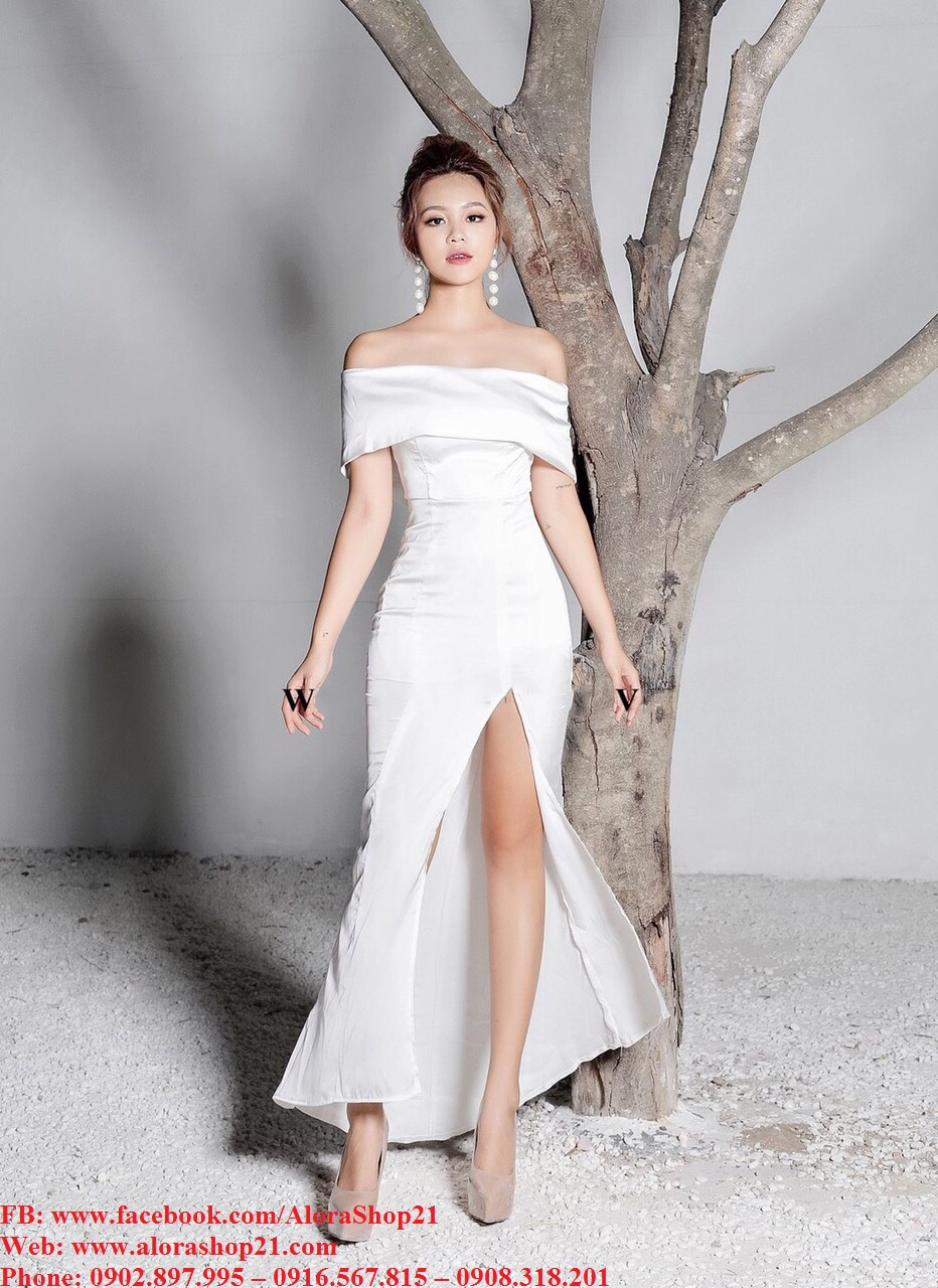 Đầm dạ hội kiểu cúp ngực bèo xẻ đùi quyến rũ - D453
