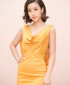 Đầm dạ hội phi lụa vàng cổ đỗ trước sau sang trọng-D450