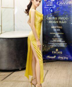 Đầm dạ hội vàng kiểu hai dây cổ đỗ xẻ hông - D452
