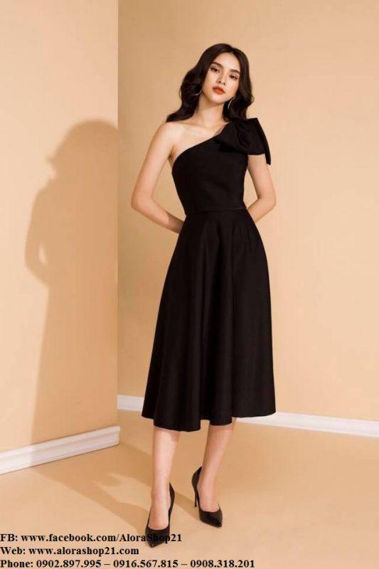 Đầm xoè đen kiểu lệch vai sang trọng - DN450