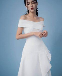 Đầm xòe tiểu thư trắng bẹt vai dễ thương-DN442