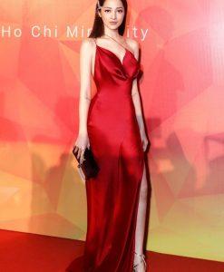 Váy dạ hội đỏ phi lụa hai dây xẻ tà sexy-D449