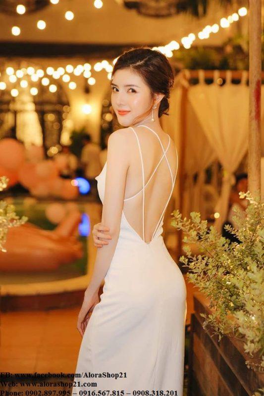 Váy dạ hội trắng hai dây hở lưng phi lụa tôn dáng-D447