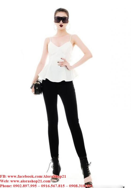 Áo quần kiểu áo hai dây trắng quần ôm đen - J98