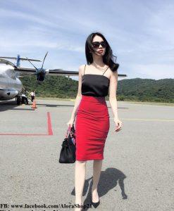 Áo váy Ngọc Trinh kiểu áo hai dây váy bút chì - JL26