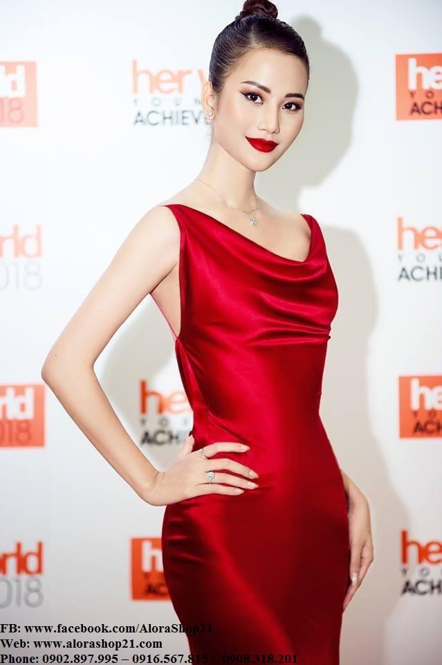 Áo đầm dạ hội lụa satin đỏ kiểu cổ đỗ xẻ tà quyến rũ - D458