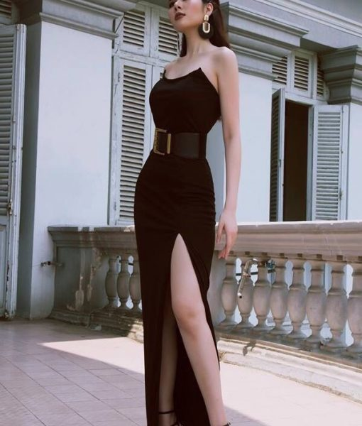 Đầm dạ hội đen kiểu cúp ngực nhọn xẻ tà sang trọng - D460